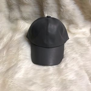 Grey Leather Hat